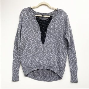 Express Lace Up Grey Pullover Sweater Size XS